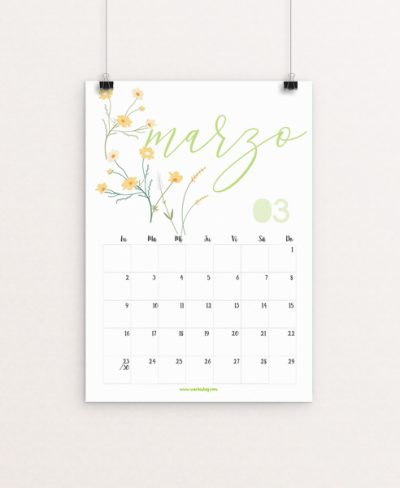 Calendario Marzo Wachishop